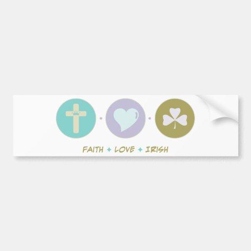 Irlandés del amor de la fe pegatina de parachoque