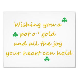 """Irlandés del día de St Patrick que dice 8,5"""""""" Fotografía"""