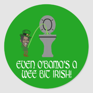 Irlandés divertido Obama Pegatina Redonda