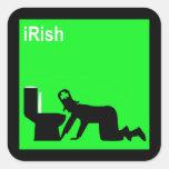 Irlandés divertido pegatina cuadrada