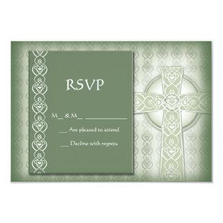 """Irlandés elegante RSVP de la cruz céltica del KRW Invitación 3.5"""" X 5"""""""