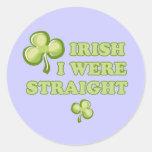 Irlandés era recto etiqueta redonda