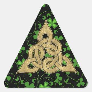 Irlandés negro Knotwork Pegatina De Triangulo Personalizadas