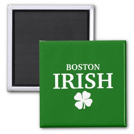 ¡IRLANDÉS orgulloso de BOSTON! El día de St Patric Imanes Para Frigoríficos