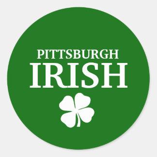 ¡IRLANDÉS orgulloso de PITTSBURGH! El día de St Etiqueta Redonda