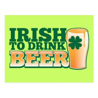 ¡Irlandés para beber la CERVEZA! Postales