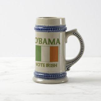 Irlandés Stein del voto de Obama Jarra De Cerveza