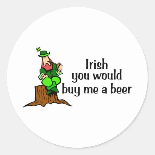 Irlandés usted me compraría un Leprechaun de la ce Pegatina Redonda