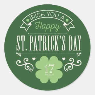 Irlandés usted pegatinas del día de un St Patrick Pegatina Redonda