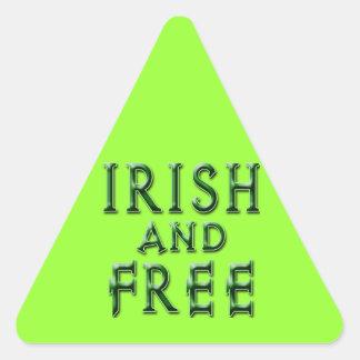 IRLANDÉS y LIBERE para el día de St Patrick Calcomanías De Triangulos