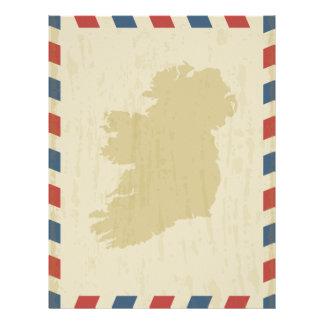 Irleand Antique Airmail Letterhead Design