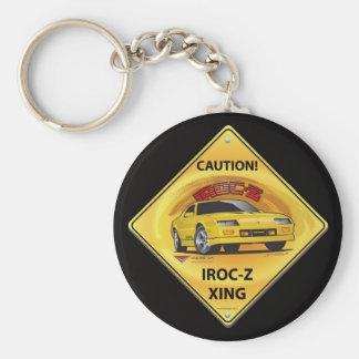 IROC84-2Black Basic Round Button Keychain