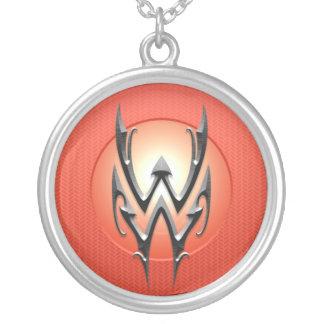 Iron Aquarius Symbol, red Round Pendant Necklace