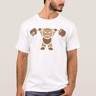 Iron Boy Bodybuilding - Overhead Press - Brown T-Shirt