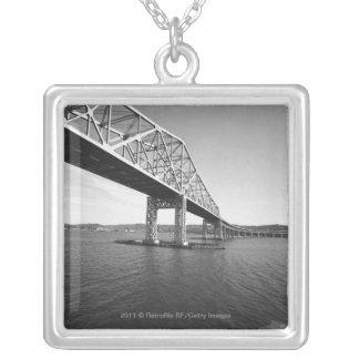 Iron bridge B&W Square Pendant Necklace