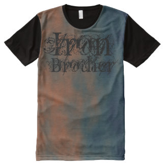 Iron Brother Rusted Red + Slate Blue Weightlifting All-Over Print Shirt