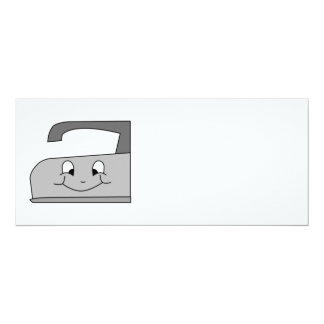 Iron Cartoon. Gray and Black on White. 4x9.25 Paper Invitation Card