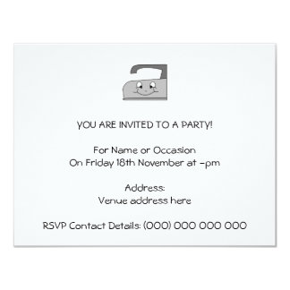 Iron Cartoon. Gray and Black on White. 4.25x5.5 Paper Invitation Card