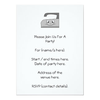Iron Cartoon. Gray and Black on White. 6.5x8.75 Paper Invitation Card