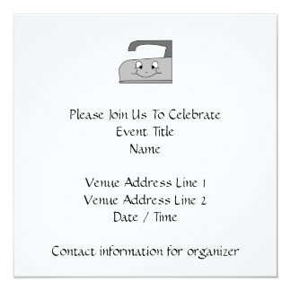 Iron Cartoon. Gray and Black on White. 5.25x5.25 Square Paper Invitation Card