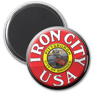 Iron City 2 Inch Round Magnet