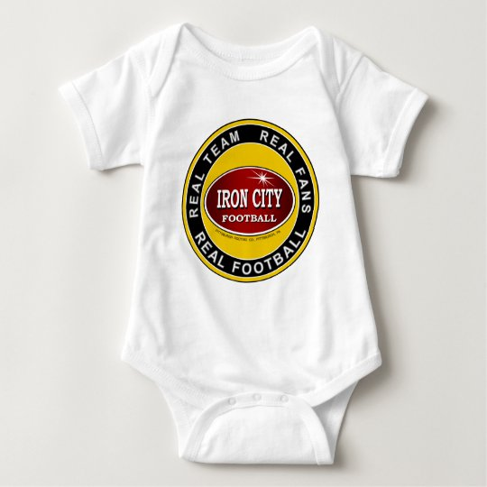 IRON CITY; Real Team, Real Fans, REAL FOOTBALL Baby Bodysuit