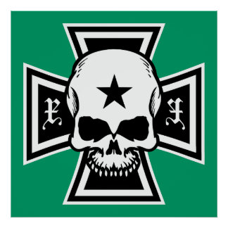 Iron Cross and Skull Poster [Green]