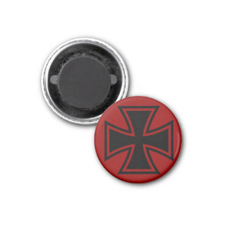 Iron Cross black red 1 Inch Round Magnet