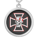 Iron cross black red skull graphic design necklace