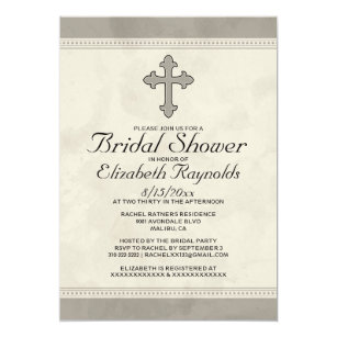 iron cross bridal shower invitations