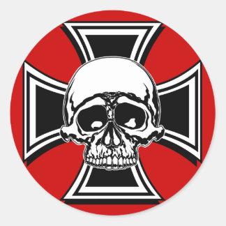 Iron Cross Military Emblem Skull Design by Beatty Classic Round Sticker