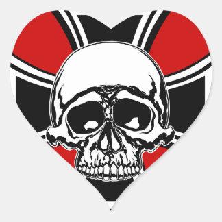 Iron Cross Military Emblem Skull Design by Beatty Heart Sticker