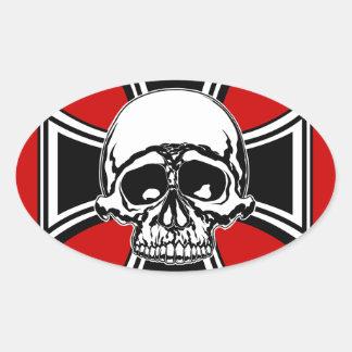 Iron Cross Military Emblem Skull Design by Beatty Oval Sticker