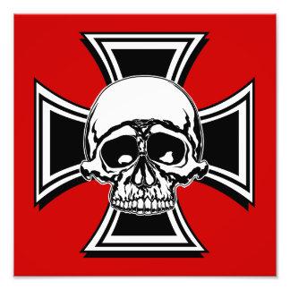 Iron Cross Military Emblem Skull Design by Beatty Photo Print