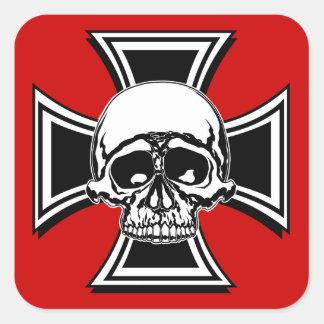 Iron Cross Military Emblem Skull Design by Beatty Square Sticker
