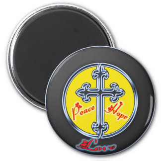 """Iron Cross """"Peace Hope Love"""" 2 Inch Round Magnet"""