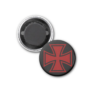 Iron Cross red black 1 Inch Round Magnet