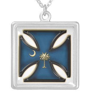 Iron Cross South Carolina Square Pendant Necklace
