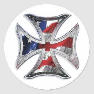 Iron Cross w/ American Flag Classic Round Sticker