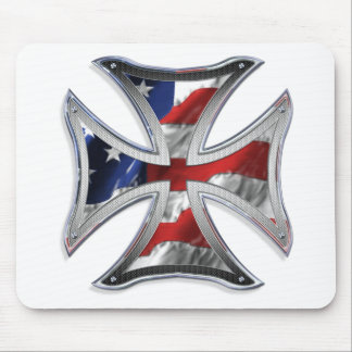Iron Cross w/ American Flag Mouse Pad
