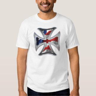 Iron Cross w/ American Flag T-shirt