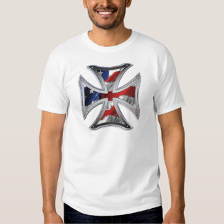 Iron Cross w/ American Flag Tshirt