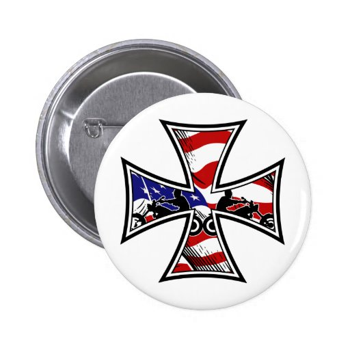 Iron Cross with American Flag and Bikers Pins