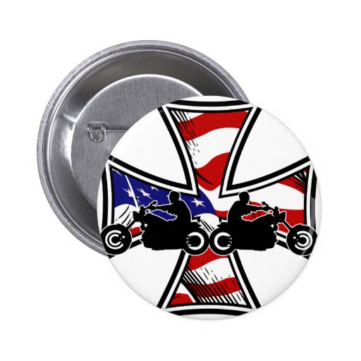Iron Cross with American Flag and Bikers Pin