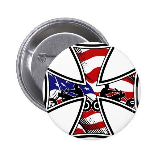 Iron Cross with American Flag and Bikers Pinback Buttons