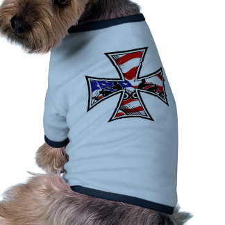 Iron Cross with American Flag and Bikers Doggie Tshirt