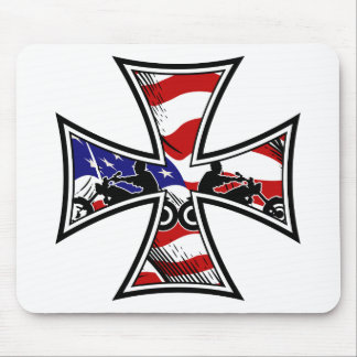 Iron Cross with American Flag and Bikers Mouse Pad