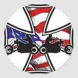 Iron Cross with American Flag and Bikers Round Stickers