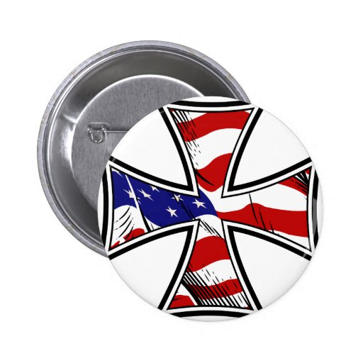Iron Cross with American Flag Buttons