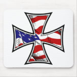 Iron Cross with American Flag Mouse Pad